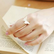 Unique Girl's Frosted Brushed Simple Style Vivid Butterfly Silver Animal Open Ring