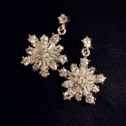Winky Zircon Crystal Snowflake Earrings