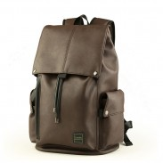 0e77d2db9 Leisure Men's PU Leather Draw String Large School Bag With USB Interface  Capacity Flap Hiking Backpack