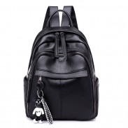 Fashion Waterproof Pure Black PU Nylon School Bag Student Backpack
