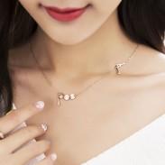 Fashion Titanium Paris Eiffel Tower Rose Gold Necklace