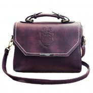 Fashion PU Mini Messenger Bag Leisure Retro Embossed Badge Shoulder Bag