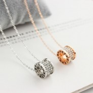 Classic Rose Gold Pendant Ring Set Diamond Short Chain Women Necklace