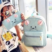 Cute Little Mouse Cartoon Rucksack PU Schoolbag Animal Backpack Gift Clutch