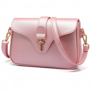 Simple OL Style Metal Lock Flap Elegant Girl's PU Shoulder Bag
