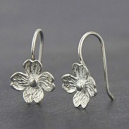 Unique Handmade Silver Flowers Hook Lady's Hook Earrings Studs