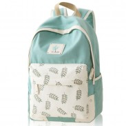 Fresh Leaf School Rucksack Leaves Printed Lady College Canvas Backpack
