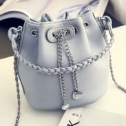 Retro Weave PU Metal Chain Draw String Small Chain Bucket Shoulder Bag