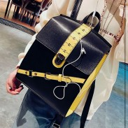 Unique Contrast Color Ruler School Tilt Buckle Square Backpack