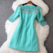 Luxury Beaded Middle Long Sleeve Woolen Dress/Party Dress