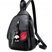 Cool Black Weave Bag Small Multi-function Shoulder Bag Lightweight PU Woven Backpack