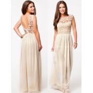 Backless Soild Hollow Lace Long Dress