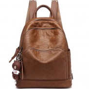 Retro British Style Brown Three Zippers College Bag School Backpack