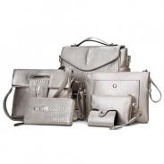 Solid Color Crocodile Grain Six-piece Shoulder Messenger Bag Handbag Card-bag