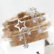 Fashion Wish Stars Rhinestone Drop Lady Silver Earrings Studs