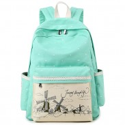 Sweet Wave Point Printing Windmills Travel Rucksack Lace Canvas Dot School Backpack