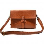 Retro Brown Black Small PU Metal Lock Catch Messenger Bag Shoulder Bag