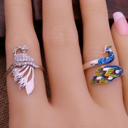 Unique Handmade Silver Peacock Adjustable National Folk Open Animal Ring