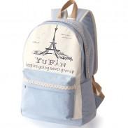 Fresh Lace Polka Dots School Rucksack Eiffel Tower College Canvas Backpack