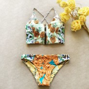 Two-sided Bikini Pineapple Printing Sexy Swimsuit  Halter Top Bathing Suit Swimwear