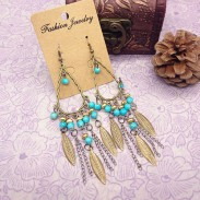 Bohemian Folk Bronze Leaves Chain Tassel Beaded Earrings