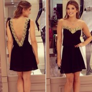 Back Deep V Sleeveless Chiffon Lace Dresses