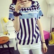 Leisure Geometric Pattern Vertical Stripes Short Sleeve Loose T-shirt