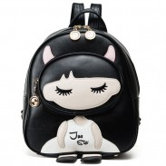 Cute PU Splicing Cartoon Close Eyes Girl Black Leisure School Backpack