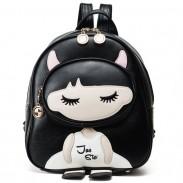 Cute PU Splicing Cartoon Close Eyes Girl Black Leisure School Backpack