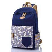 Fresh Floral Flowers Pattern Lace Pocket Travel Bag Computer Backpack School Rucksack