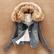 Removable Fur Collar Cotton Thick Slim Denim Jacket