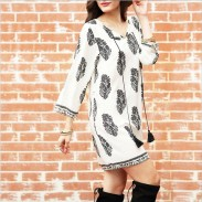 Leisure Three-quarter Length Sleeves Tassel Paisley Printing Short Skirt