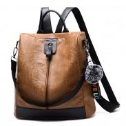 Retro Brown Vertical Zipper Multi-function Travel Bag Leather Backpack