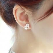 Fresh Plum Flower Pearl Rhinestone Sterling Silver Earring Studs
