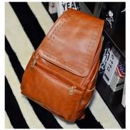 Western Style Vintage Rivet Solid School Travel Backpack