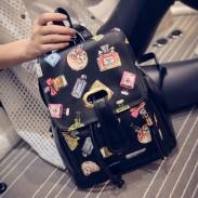 College Stripe Perfume Sheep Crown Backpack Travel Bag