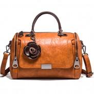 Retro Casual Flower Decor Soft Leather Handbag Lady Shoulder Bag