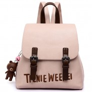 Sweet Frosted PU Letters Embroidery Gift Bear Doll Small School Backpack