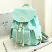Sweet Candy Canvas College Rucksack Mint Green Pure Color Girls Backpack
