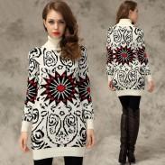 Slim Graffiti Sunflower Print Long Sweater