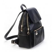 Street Leisure Solid Golden Zipper Waterproof BookBag Travel Leather Backpack
