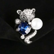 Cute Blue Crystal Pearl Fox Ring Animal Two Set Rings