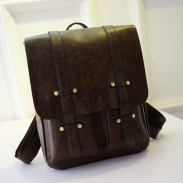 Vintage Square Double Belt Schoolbags Backpacks