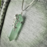Unique Silver Clavicle Leaves Original Handmade Crystal Green Fluorite Column Jewelry Necklace