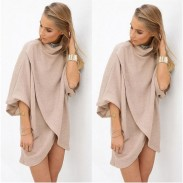 Fashion Cream Pagoda Sleeve Irregular Knit Dress