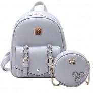 Sweet Girl's Small Stereo Flowers Bag Gift Circular Mini Shoulder Bag PU Backpack