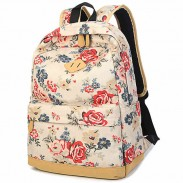 Fashion Girl's Canvas Printing Rose Flowers School Backpack Large Capacity Travel Backpack
