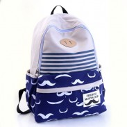 Fresh Sweet Cute Moustache Striped College Backpack Satchel
