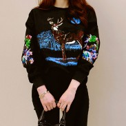 Fashion Loose O-neck Sequined Sleeves Forest Elk Pattern Leisure Top