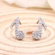 Sterling Silver Elegant Music Note Shining Diamond Lady Earrings
